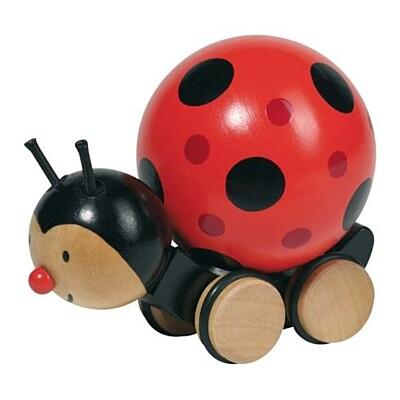 Dřevěná hračka beruška s točící se kuličkou Goki
