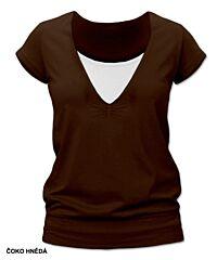 Kojící tričko KARLA krátký rukáv Jožánek - M/L, čoko hnědá