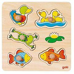 Vkládací dřevěné puzzle - rybník Goki
