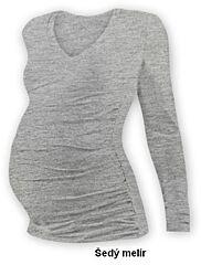 """Těhotenské tričko """"V"""" výstřih VANDA dlouhý rukáv Jožánek - S/M, šedý melír"""