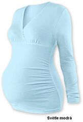 """Těhotenská tunika """"V"""" výstřih BARBORA dlouhý rukáv Jožánek - M/L, světle modrá"""