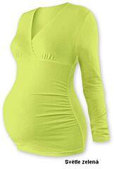 """Těhotenská tunika """"V"""" výstřih BARBORA dlouhý rukáv Jožánek - S/M, světle zelená"""