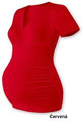 """Těhotenská tunika """"V"""" výstřih BARBORA, krátký rukáv Jožánek - S/M, červená"""