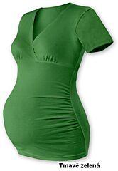 """Těhotenská tunika """"V"""" výstřih BARBORA, krátký rukáv Jožánek - M/L, tmavě zelená"""