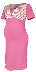 Noční košile pruhovaná krátký rukáv Jožánek - S/M, světle růžová