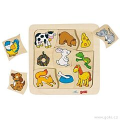 Dřevěné puzzle – Kdo co jí? Goki