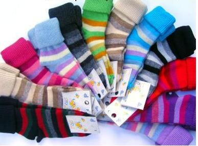 Ohrnovací vlněné ponožky Diba s pruhy vel. 1
