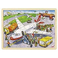 Dřevěné puzzle Na letišti, 96 dílů Goki