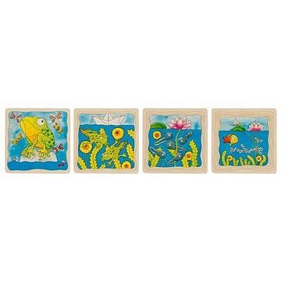 Žába – vývojové vrstvené puzzle ze dřeva Goki