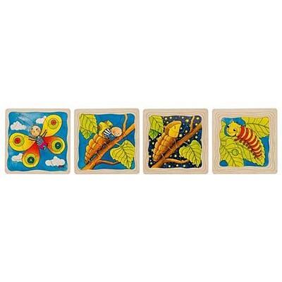 Housenka – vývojové vrstvené puzzle ze dřeva Goki