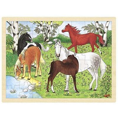 Puzzle na desce – Koně, 48 dílů Goki