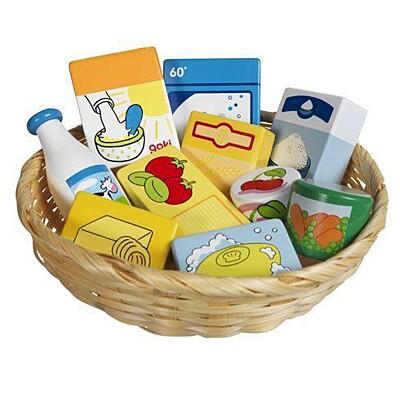 Dětský krámek – miniatury potraviny a potřeby do domácnosti, 10 ks Goki