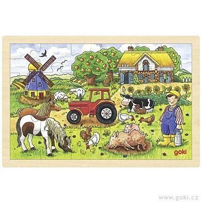 Puzzle na desce – Život na farmě Goki