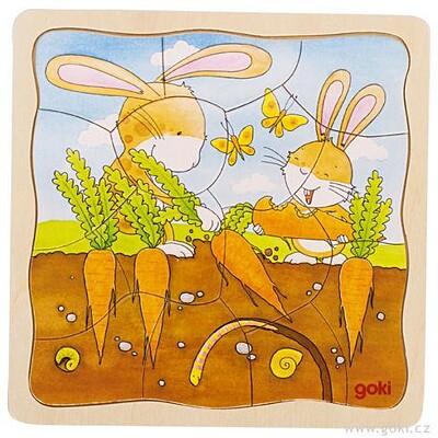 Zeleninový záhonek – vývojové vrstvené puzzle ze dřeva Goki