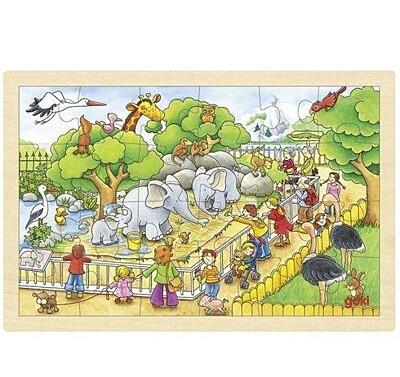 Puzzle na desce – Návštěva zoo, 24 dílů Goki