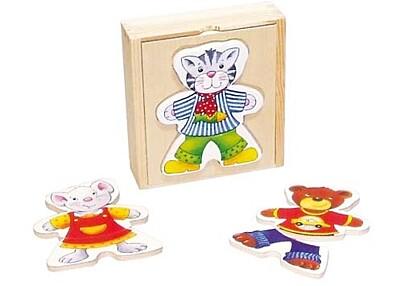 Puzzle - Šatní skříň zvířátka Goki