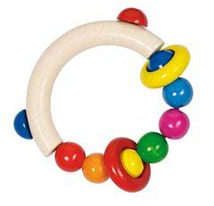 Dřevěná hračka – půlkruh s dřevěnými perličkami a 2 kroužky - Goki