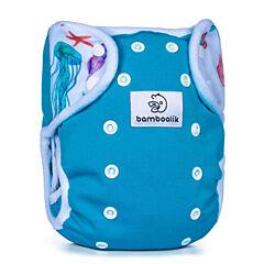 Svrchní kalhotky na patentky Duo Bamboolik - tyrkysová + medúzy