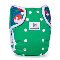 Svrchní kalhotky na patentky Duo Bamboolik - lesní zelená + lišky