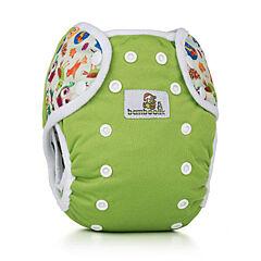 Svrchní kalhotky na patentky Duo Bamboolik - zelená + sovy