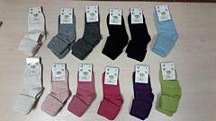 Ohrnovací jednobarevné vlněné ponožky - vel.0 - neutrální barvy