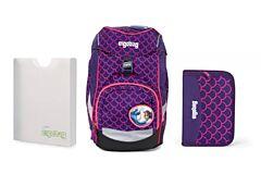Batoh školní Ergobag prime Fluo růžový 2020 - set penál + desky
