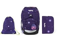 Batoh školní Ergobag prime Galaxy fialový 2020 - set penál + sportovní pytel