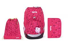 Batoh školní Ergobag prime Pink Hearts 2020 - set penál + sportovní pytel
