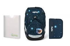 Batoh školní Ergobag prime Galaxy modrý 2020 - set penál + desky