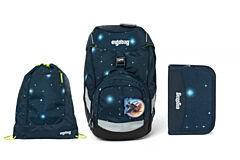 Batoh školní Ergobag prime Galaxy modrý 2020 - set penál + sportovní pytel