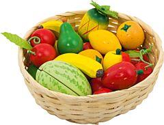 Dětský krámek – ovoce v košíku, 23 ks - Goki