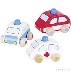 Dřevěné autíčko s houkačkou – policie, hasiči, záchranka Goki