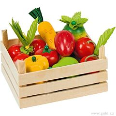 Směs ovoce a zeleniny v dřevěné přepravce - Goki