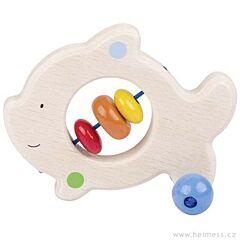 Rybička – dřevěná hračka do ruky pro miminka Heimess