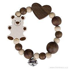 Medvídek a velké srdce – elastická hračka s rolničkou (Heimess nature)
