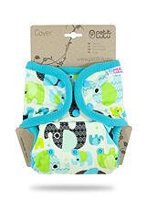 Svrchní kalhotky PUL na patentky Petit Lulu - Sloníci - tyrkys