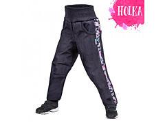 Dětské softshellové kalhoty Unuo s fleesem, Street, žíhaná antracitová, metricon holka - 98/104