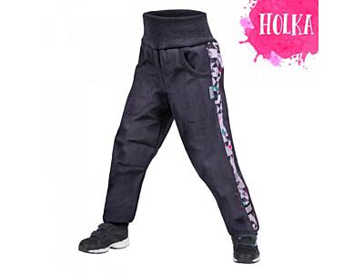 Dětské softshellové kalhoty Unuo s fleesem, Street, žíhaná antracitová, metricon holka