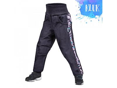 Dětské softshellové kalhoty Unuo s fleesem, Street, žíhaná antracitová, metricon kluk