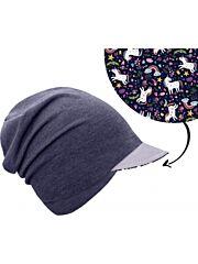 UNUO dětská čepice z teplákoviny s reflexním kšiltem spadená, jeans temný, jednorožci - S