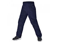 Dětské softshellové kalhoty Unuo s fleesem Cool, žíhaná tm. modrá - 116-122