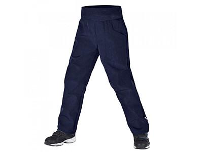 Dětské softshellové kalhoty Unuo s fleesem Cool, žíhaná tmavě modrá