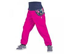 Dětské softshellové kalhoty Unuo fuchsiové květiny - 98/104