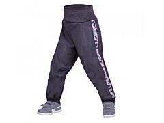 Batolecí softshellové kalhoty Unuo s fleesem, Street, žíhaná antracitová, metricon holka - 86/92