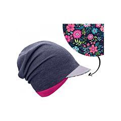 UNUO dětská čepice z teplákoviny s reflexním kšiltem spadená, jeans temný, květinky - S
