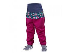Batolecí softshellové kalhoty Unuo bez zateplení tm. růžová, květiny - 74/80