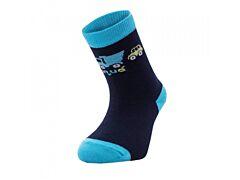 Bambusové ponožky Unuo Autíčka tyrkysové - 19-22