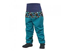 Batolecí softshellové kalhoty Unuo smaragdová, pejsci - 92/98 - SLIM
