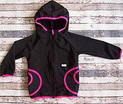 Softshellové bunda Yháček černá s řůžovým 104